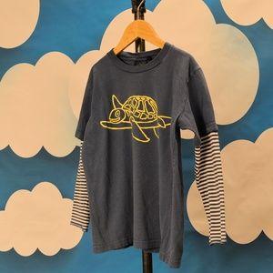 Mini Boden Double Sleeve Tee T-shirt Boys 7 - 8